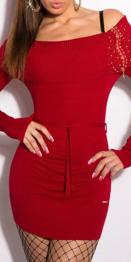 Czerwona seksowna sukienka dzianinowa