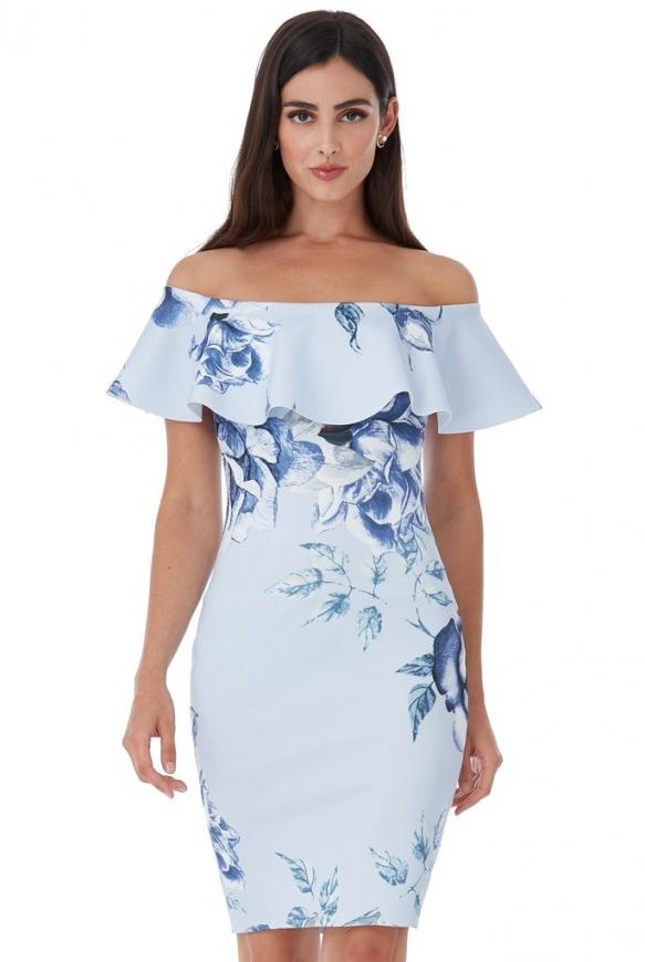 Ołówkowa sukienka piankowa w kwiaty