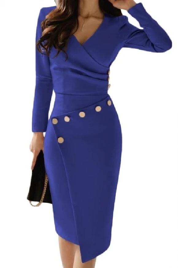 Chabrowa elegancka sukienka z guzikami
