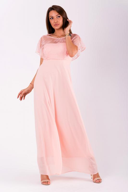 Różowa sukienka z narzutką koronkową
