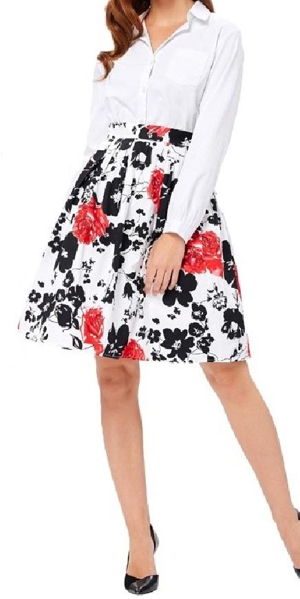 Biała spódnica w czarno czerwone kwiaty