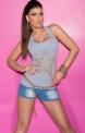 Szara bokserka z gwiazdą, koszulka damska na ramiączkach