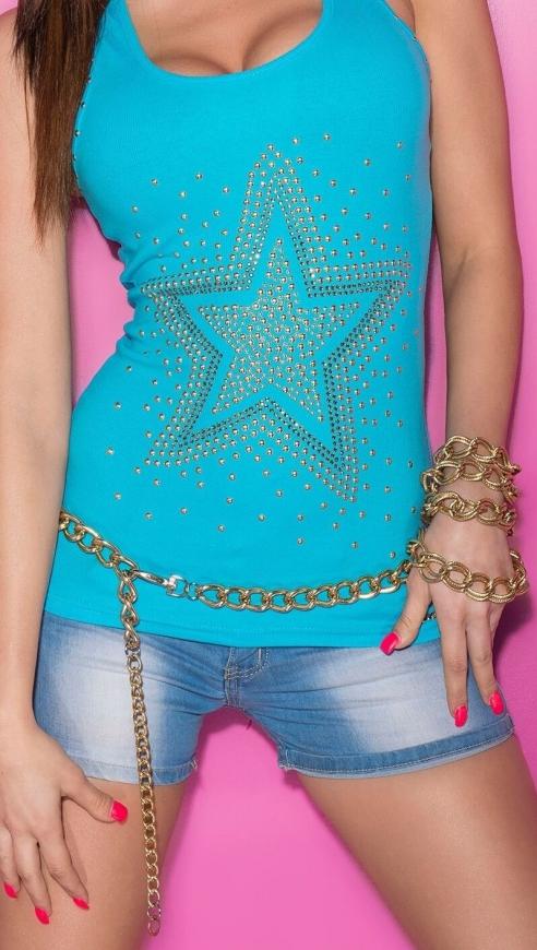 Błękitna koszulka damska na ramiączkach