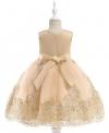 Elegancka sukienka dla dziewczynki, beżowa z haftem