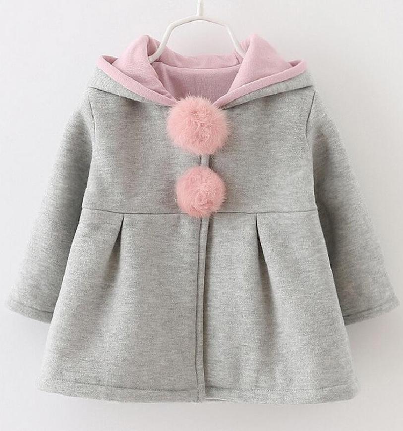 Szary wiosenny płaszcz dla dziewczynki