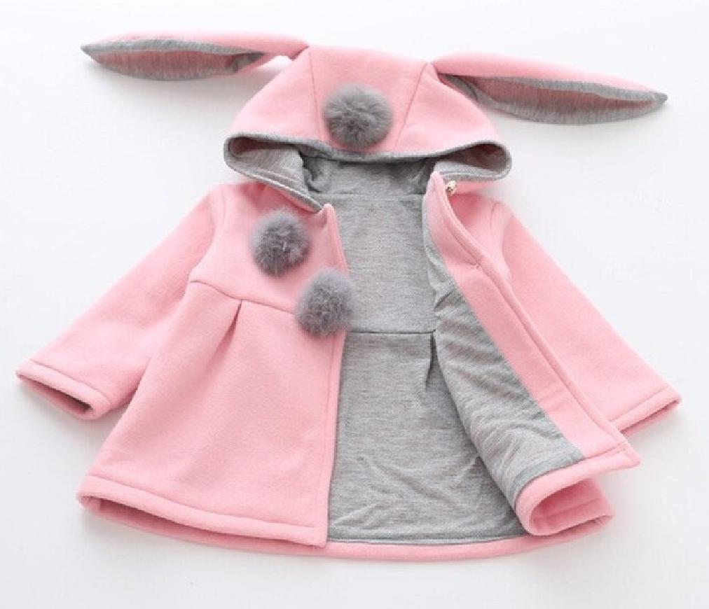 Różowo szary uroczy płaszczyk dla dziewczynki z uszami