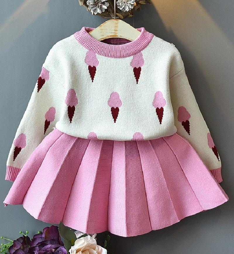 Komplet dla dziewczynki, sweterek lodami i plisowana spódnica