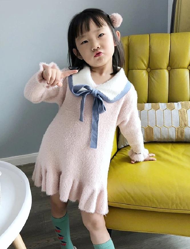 Różowa sukienka dla dziewczynki z kołnierzem