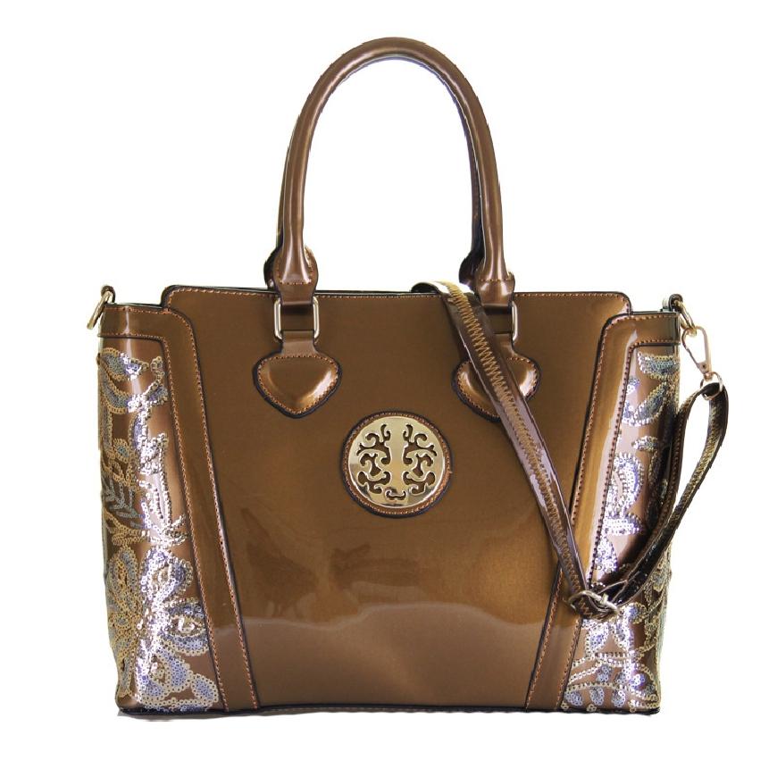 Elegancka torebka lakierowana z cekinami
