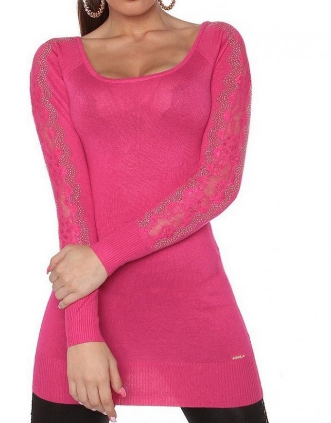 Modna tunika z koronką i kryształkami, różowa