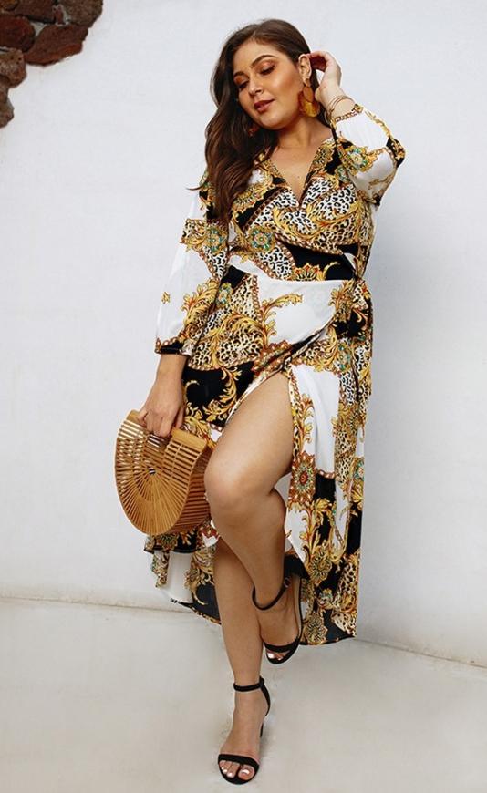 Letnia sukienka plus size w łańcuchy