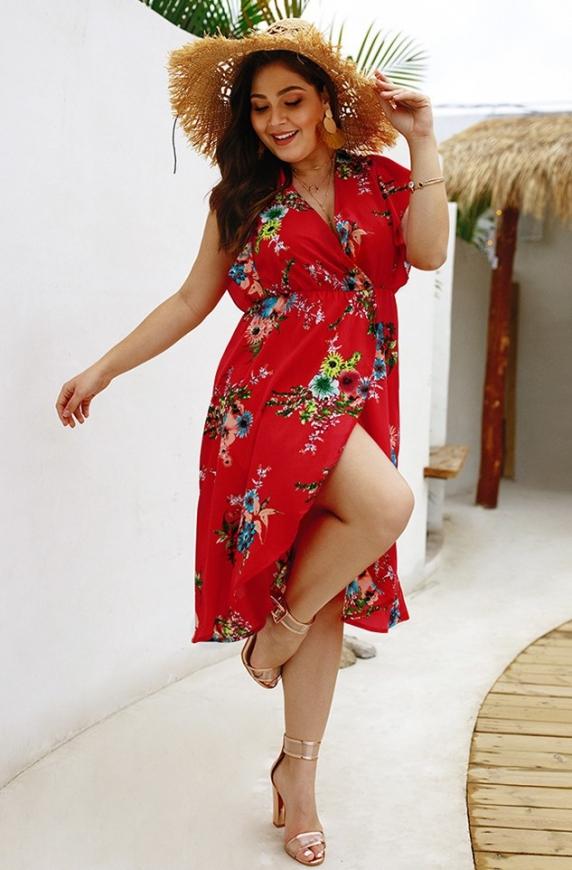 Czerwona sukienka letnia plus size