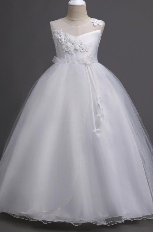 Elegancka sukienka do komunii z kwiatkami 3D