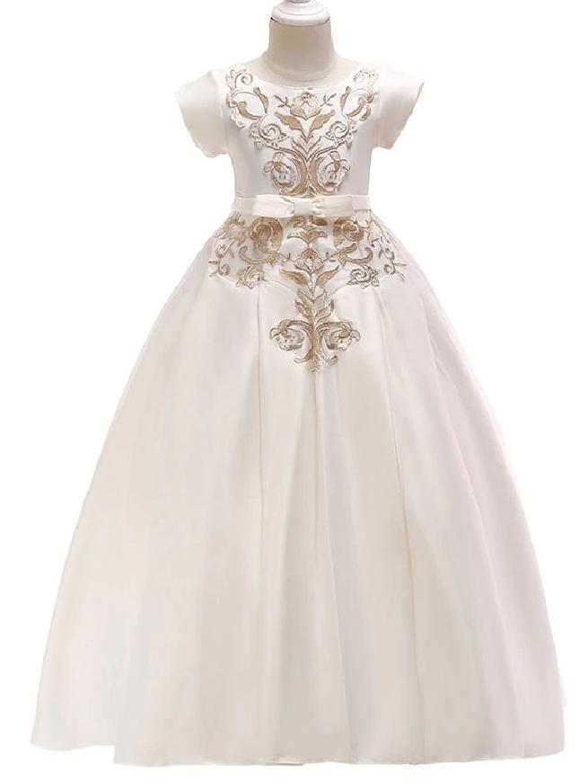 Satynowo bawełniana sukienka dla dziewczynki z haftami