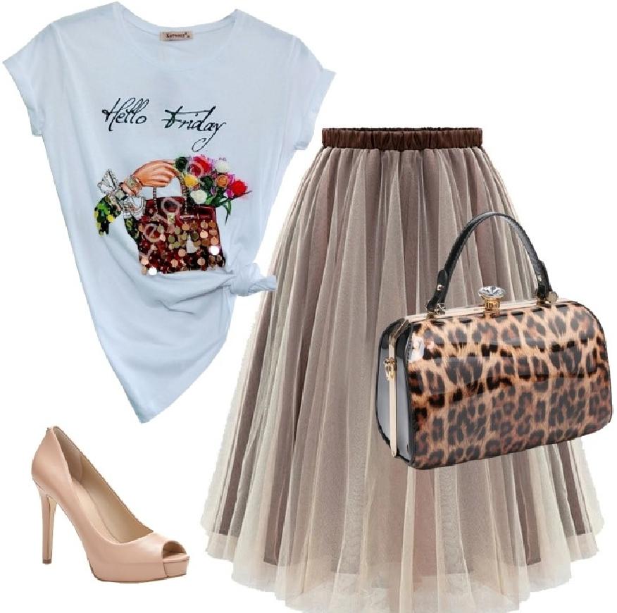 Tiulowa spódnica w kolorze brązu i beżu