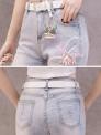 Jeansy damskie z kwiatami 3D zdobione koralikami i cekinami