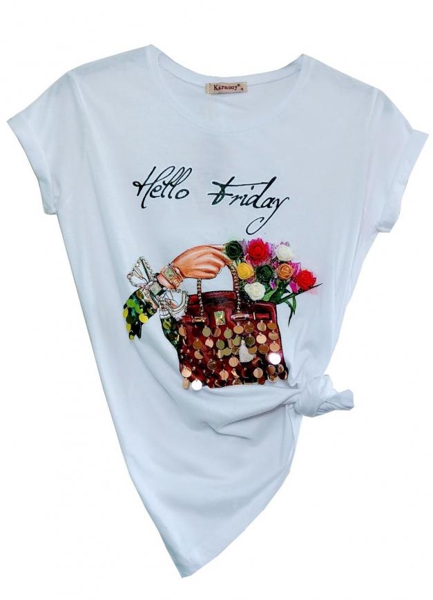 T-shirt damski z torebką cekinami i kwiatami 3D z napisem Hello Friday