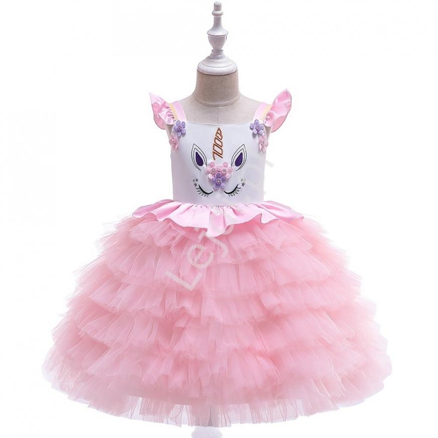 Sukienka z jednorożcem dla dziewczynki jasnoróżowa z falbanami