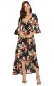 Czarna długa sukienka w kwiaty z wydłużonym tyłem