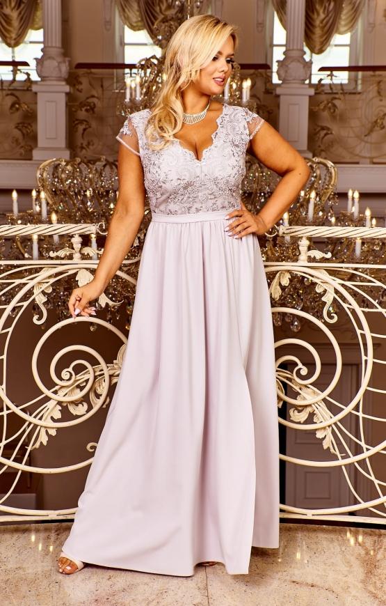 Jasno szara sukienka wieczorowa, wyszczuplająca Chantell