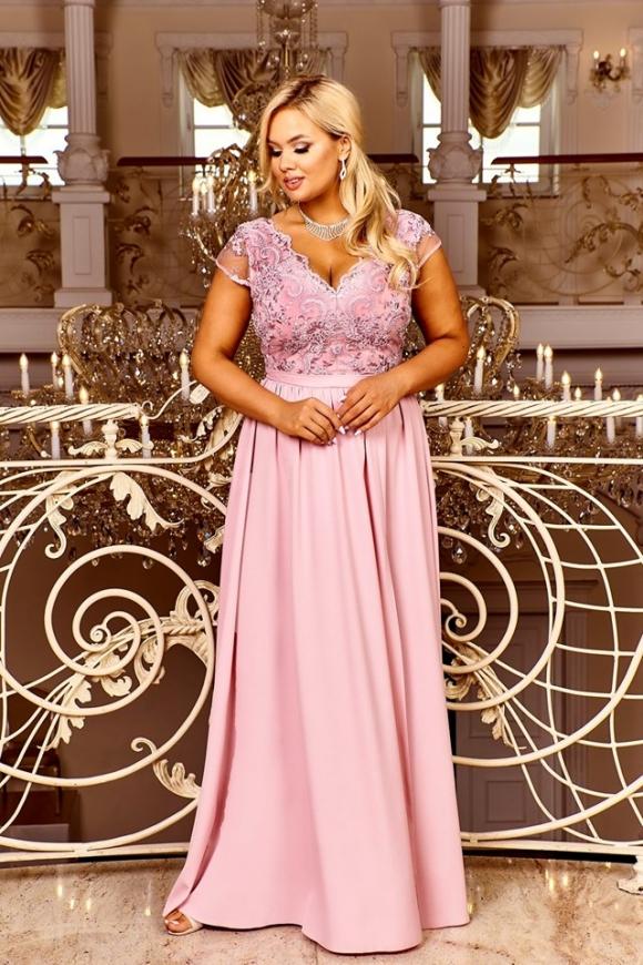 Wieczorowa sukienka na wesele, studniówkę, dla druhny, pustynny róż, Chantell
