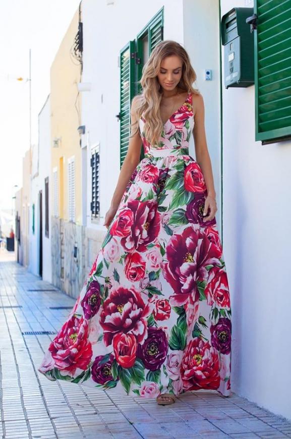 Kwiatowa długa suknia z odkrytymi plecami, Megi