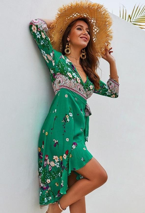 Zielona sukienka letnia w kwiaty