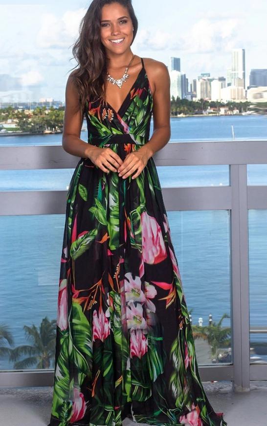 Czarna sukienka maxi w kolorowe kwiaty