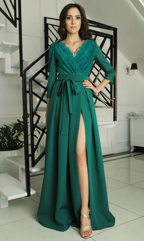 Szmaragdowa długa suknia z koronką r. 34 - r.52