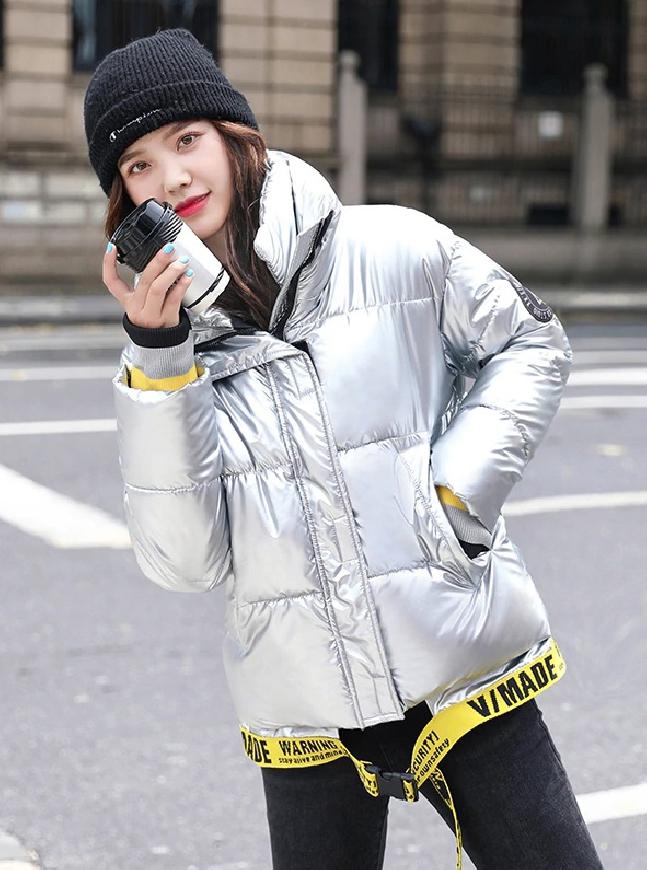 Damska pikowana kurtka w kolorze srebrnym