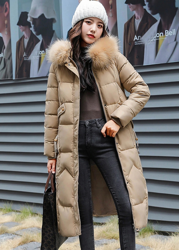 Pikowany płaszcz damski khaki
