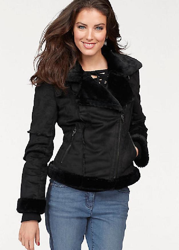Czarna kurtka Aniston z kożuszkiem