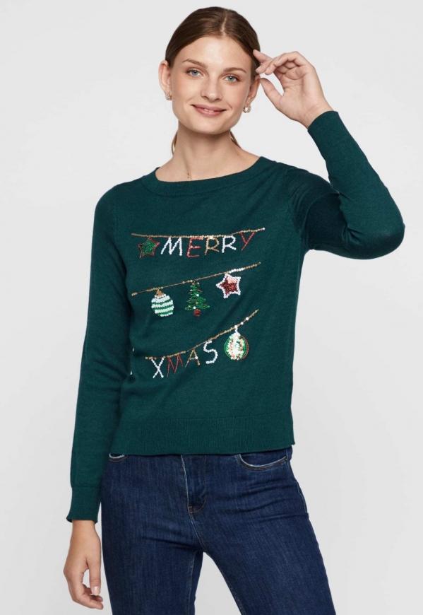 Zielony świąteczny sweter z cekinami