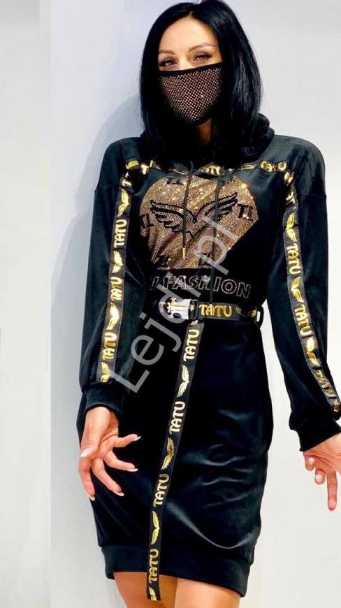 Czarna sukienka welurowa TATU z kryształkami
