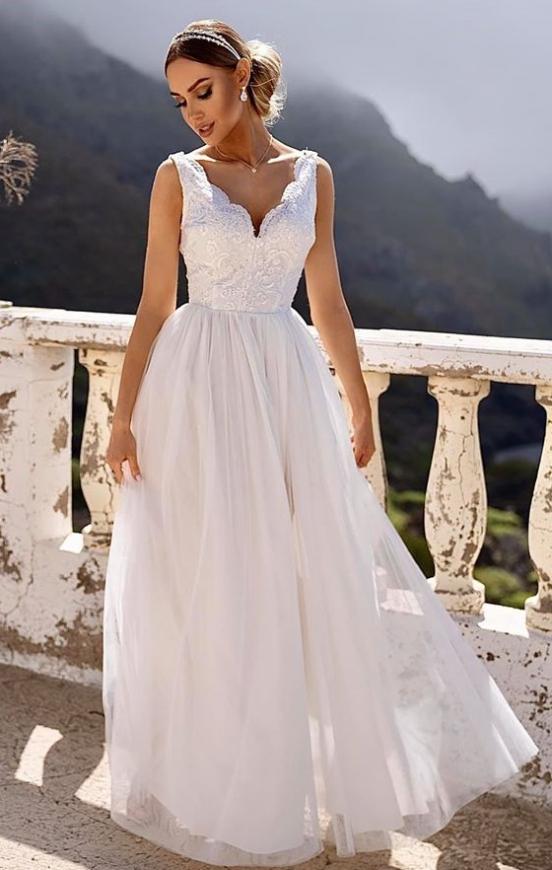 Biała tiulowa sukienka ślubna z koronkową górą Chiara