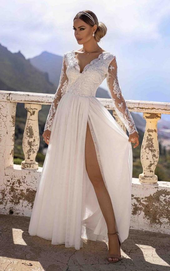 Biała sukienka ślubna z tiulu i koronki, Adel