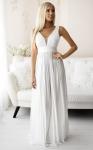 Biała plisowana sukienka ślubna z połyskującej satyny