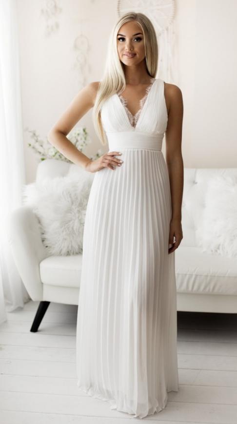 Szyfonowa suknia ślubna plisowana z koronką