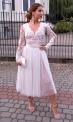 Biała sukienka ślubna z podszewką brudny róż, Rene