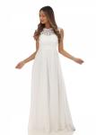 Szyfonowa sukienka ślubna z koronkową górą