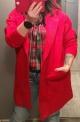 Czerwony płaszczyk Alpaka, uniwersalna narzutka wełniana czerwona