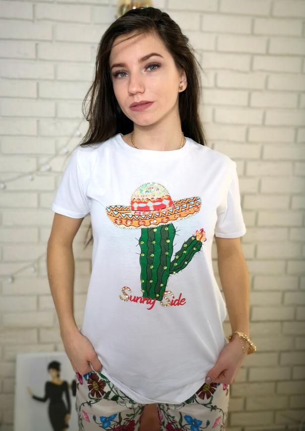 Biały t-shirt damski z kaktusem zdobionym cekinami i kryształkami