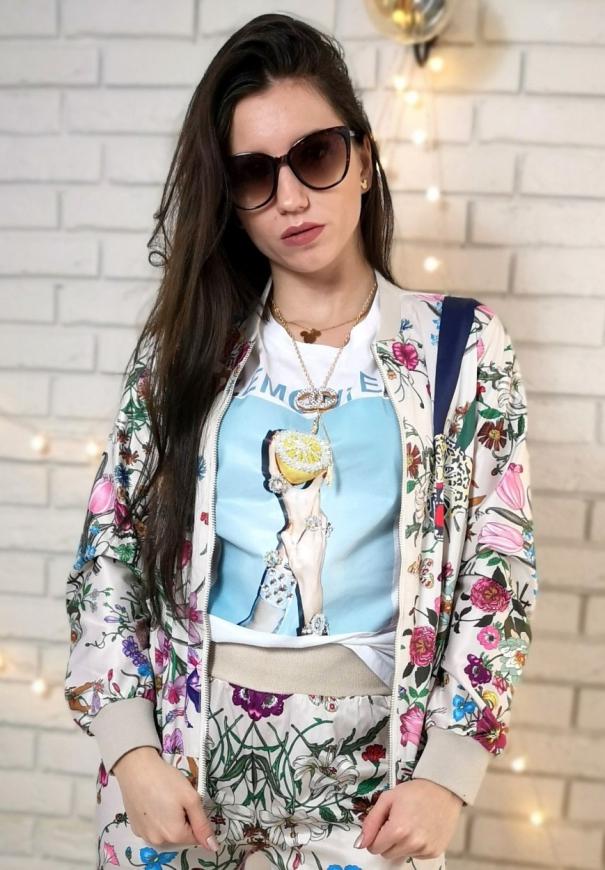 Biała koszulka damska z cytryną zdobioną koralikami