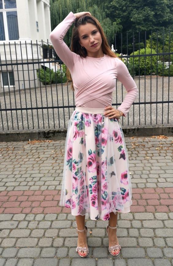 Komplet damski spódnica w kwiaty i bluzka, pastelowo purowy różowy