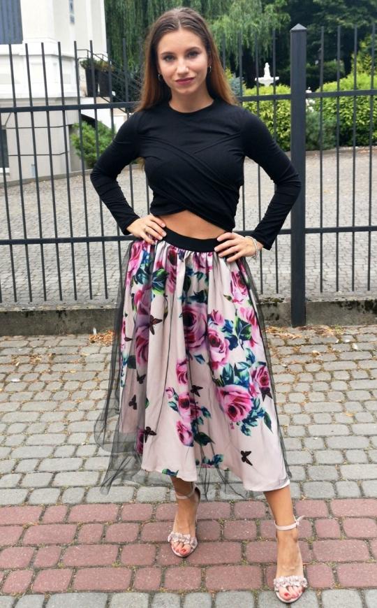 Komplet damski spódnica w kwiaty i bluzka, czarno różowy