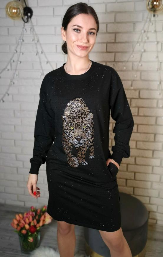 Czarna dzianinowa sukienka z kryształkami i leopardem 5064