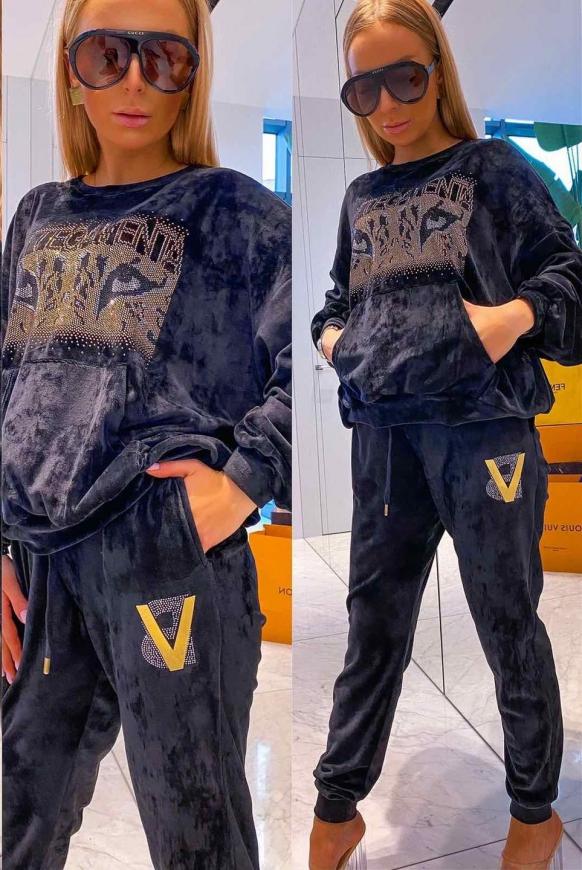 Welurowy dres Bottegaventa, czarny dres z kryształkami 467