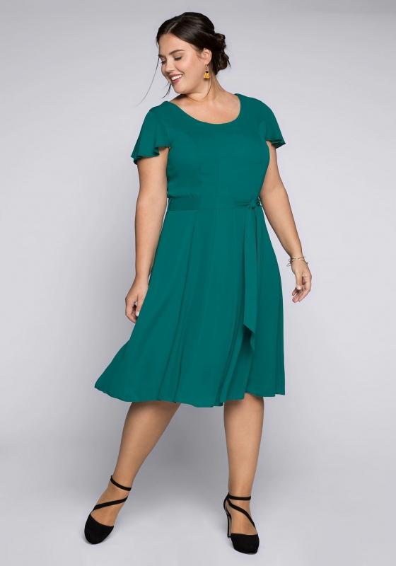 Szyfonowa sukienka szmaragdowa plus size Sheego