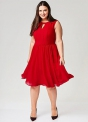 Szyfonowa sukienka plus size w czerwonym kolorze, Sheego