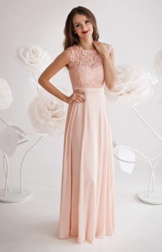 Jasno różowa sukienka na wesele, dla druhny